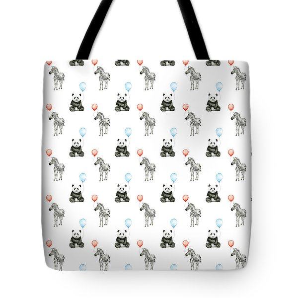 Panda And Zebra With Balloons Pattern Tote Bag