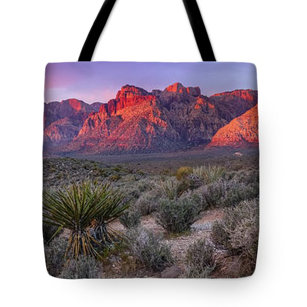 Panorama Of Rainbow Wilderness Red Rock Canyon - Las Vegas Nevada Tote Bag