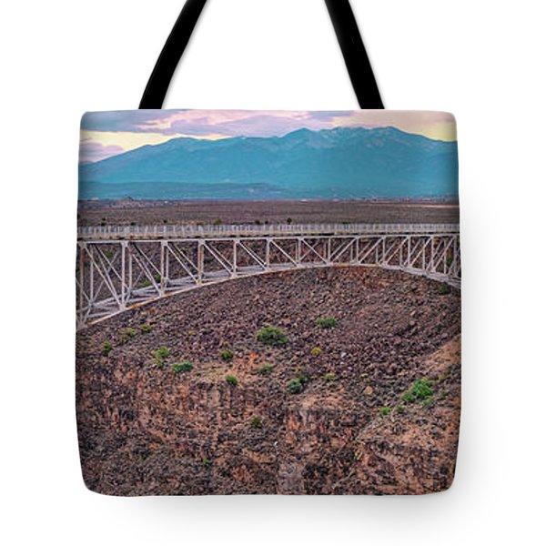 Panorama Of The Rio Grande Del Norte Gorge Bridge And Sangre De Cristo Mountains - Taos New Mexico Tote Bag