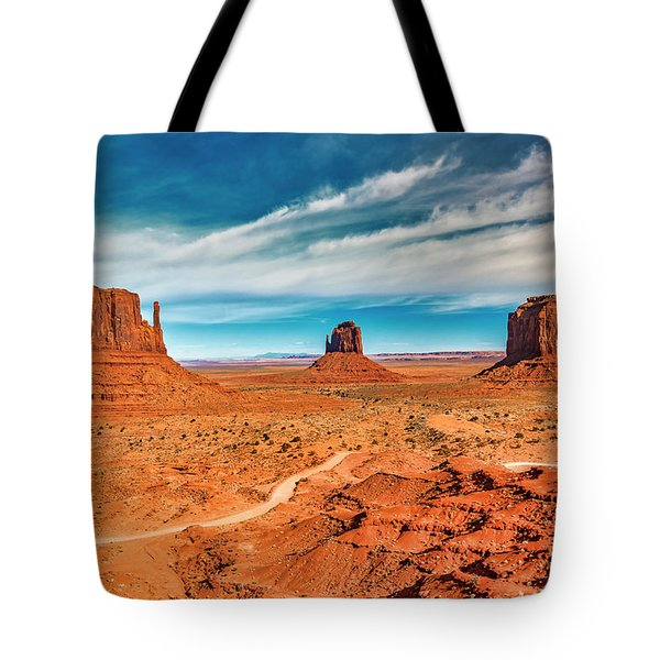Tote Bag featuring the photograph Panoramic Monument Valley by Andy Crawford