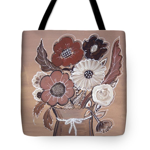 Tote Bag featuring the painting Paper Bag Bouquet by Robin Maria Pedrero