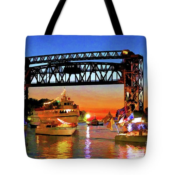 Parade Of Lighted Boats Tote Bag