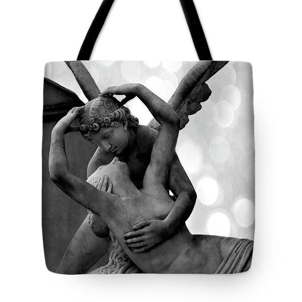 Paris Eros Psyche Cemetery Angels - Romantic Eros And Psyche Paris Angels Cemetery Black White Decor Tote Bag