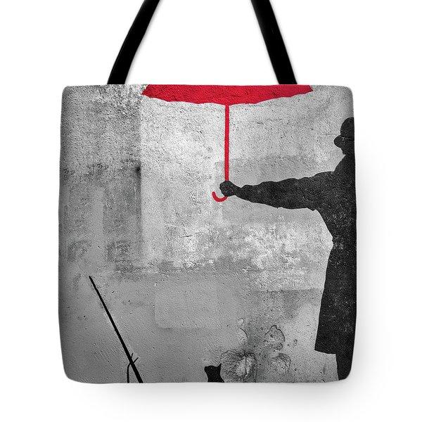 Paris Graffiti Man With Red Umbrella Tote Bag