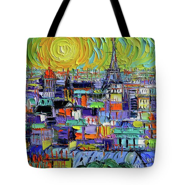 Paris Rooftops View From Notre Dame Towers - Textural Impressionist Stylized Cityscape Mona Edulesco Tote Bag