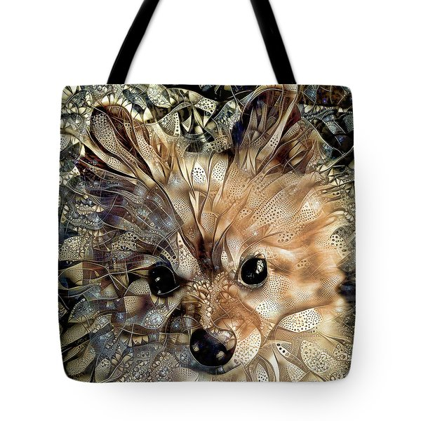 Tote Bag featuring the digital art Paris The Pomeranian Dog by Peggy Collins