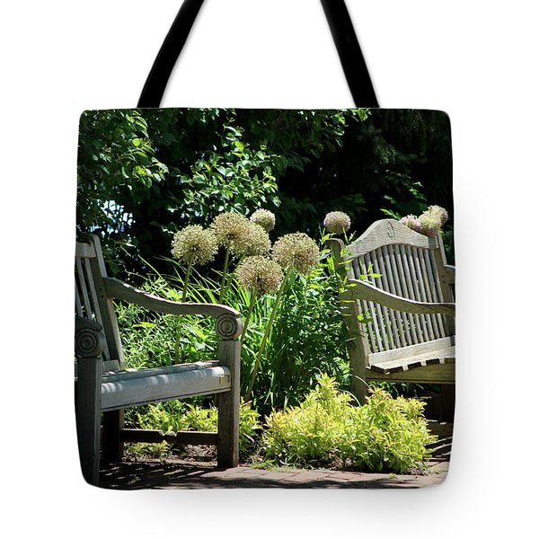 Park Benches At Chicago Botanical Gardens Tote Bag