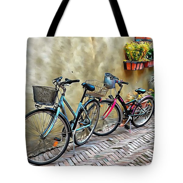 Tote Bag featuring the photograph Parked Together Pienza by Dorothy Berry-Lound