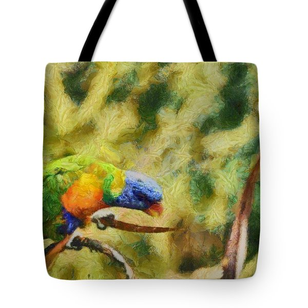 Tote Bag featuring the painting Parrot Paradise by Harry Warrick