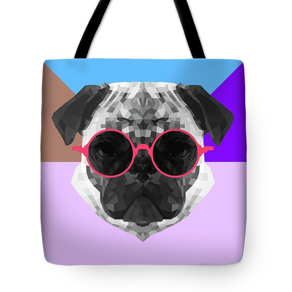 Party Pug In Pink Glasses Tote Bag