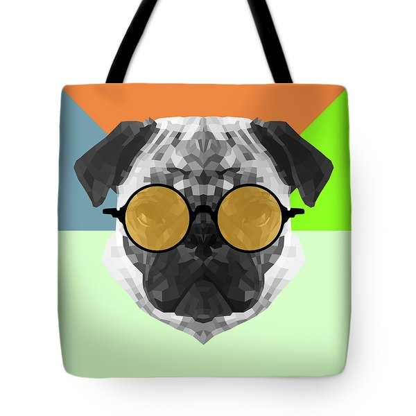 Party Pug In Yellow Glasses Tote Bag
