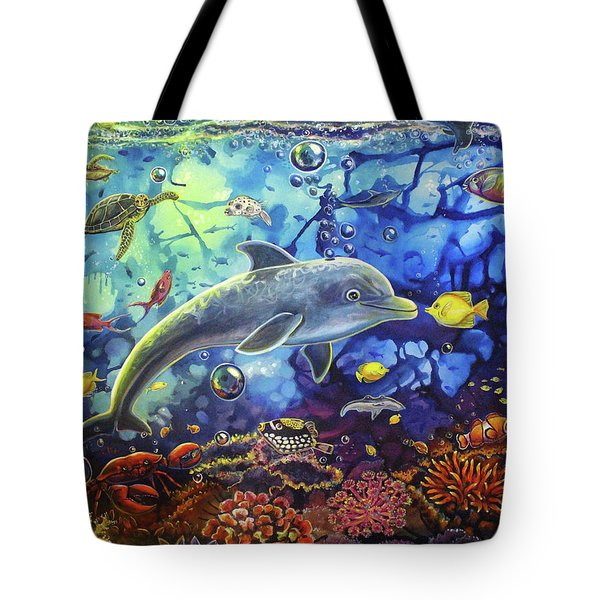 Past Memories New Beginnings Dolphin Reef Tote Bag