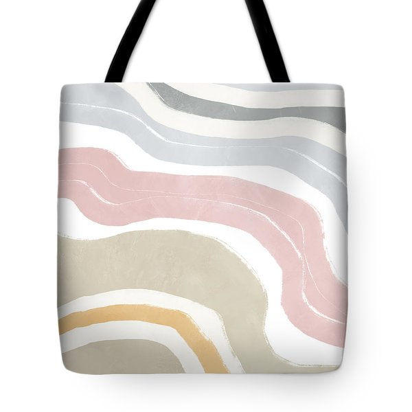 Tote Bag featuring the mixed media Pastel Waves 1- Art By Linda Woods by Linda Woods