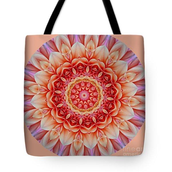 Peach Floral Mandala Tote Bag