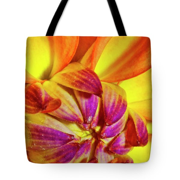 Peach Purple Flower Tote Bag