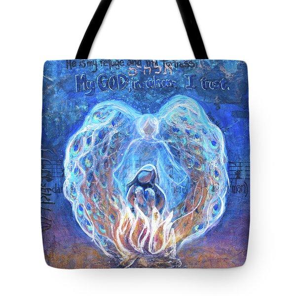 Peacock Angel    Cooler Version Tote Bag