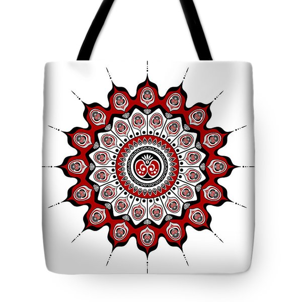 Peacock Feathers Mandala In Black And Red Tote Bag