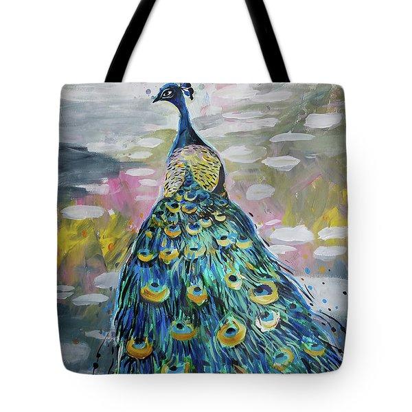 Peacock In Dappled Light Tote Bag