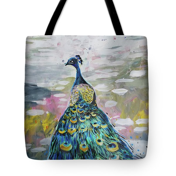 Peacock In Dappled Light Tote Bag