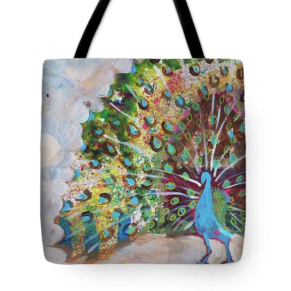 Peacock In Morning Mist Tote Bag