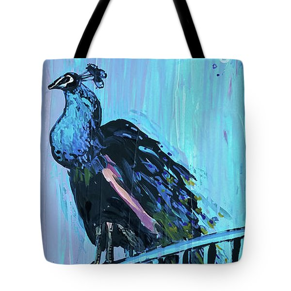 Peacock On A Fence Tote Bag
