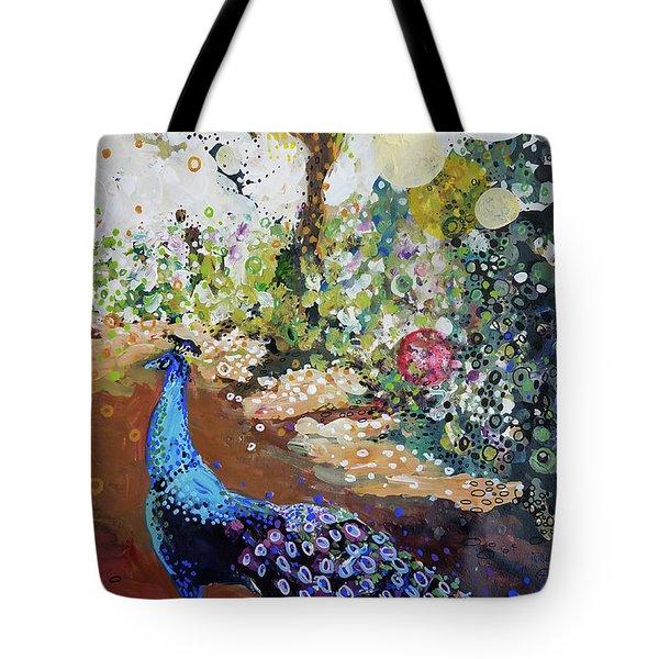Peacock On Path Tote Bag
