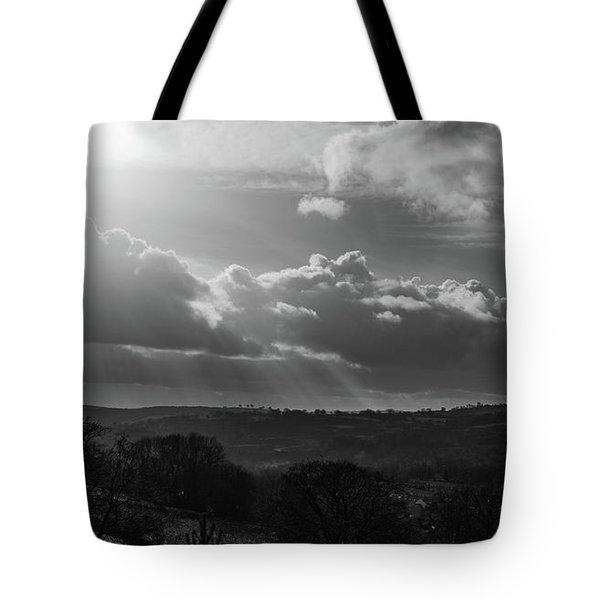 Peak District From Black Rocks In Monochrome Tote Bag