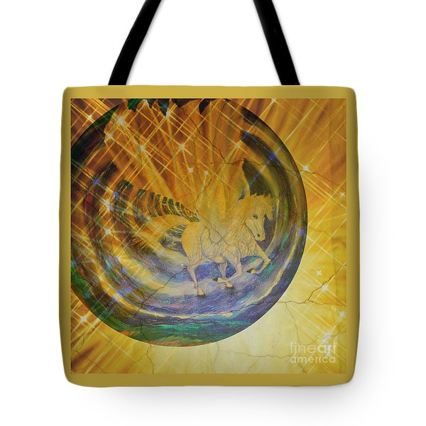 Tote Bag featuring the mixed media Pegasus Golden Ray by Sabine ShintaraRose