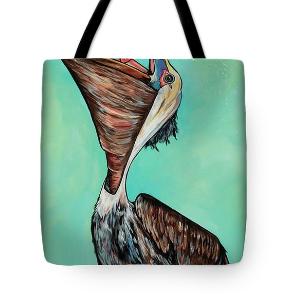 Pelican On The Edge Tote Bag