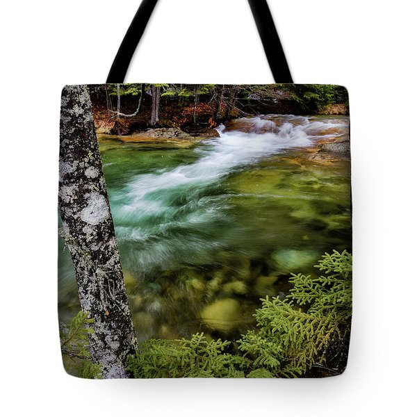 Tote Bag featuring the photograph Pemigewasset River, Basin Trail Nh by Michael Hubley