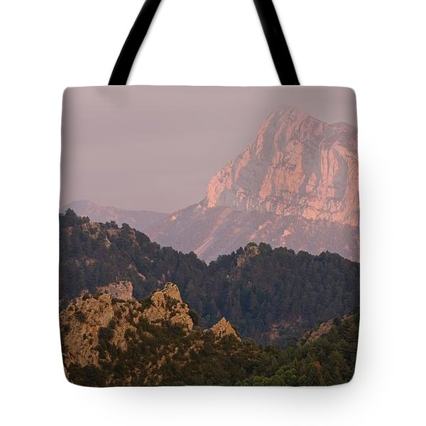 Tote Bag featuring the photograph Pena Montanesa Sunset Panorama by Stephen Taylor