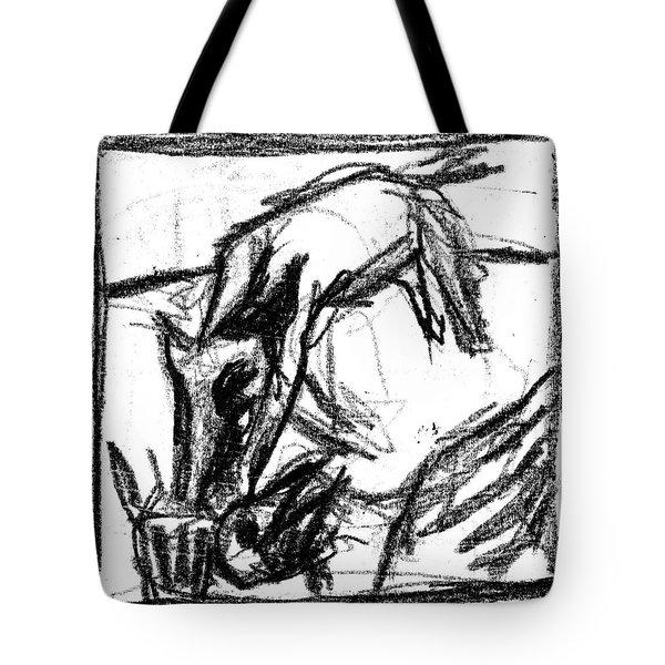 Pencil Squares Black Canine F Tote Bag