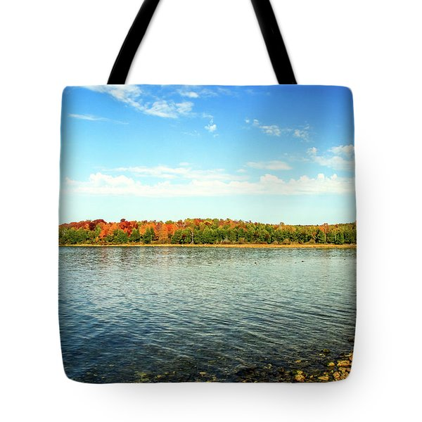 Tote Bag featuring the photograph Peninsula Shore In Fall by Dawn Richards