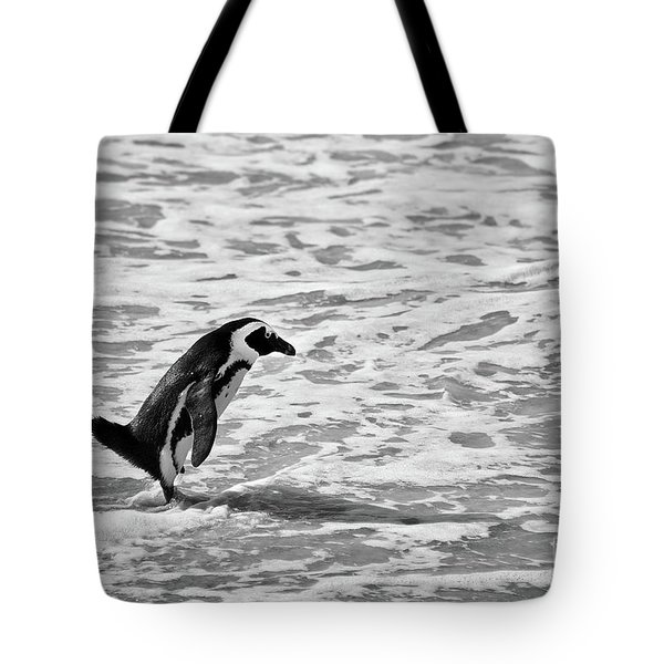 Penguin On A Beach - Bath Time Tote Bag