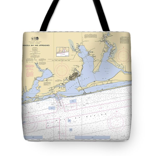 Pensacola Bay And Approaches Noaa Chart 11382 Tote Bag