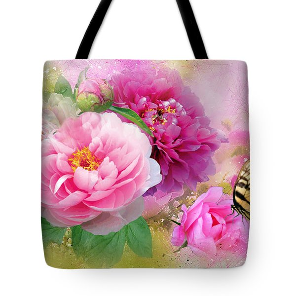 Peonies And Butterfly Tote Bag