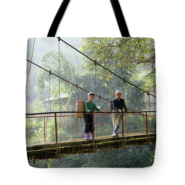 People And Children From Sapa, Mountainous Area Of Northern Vietnam In Their Daily Life. Tote Bag