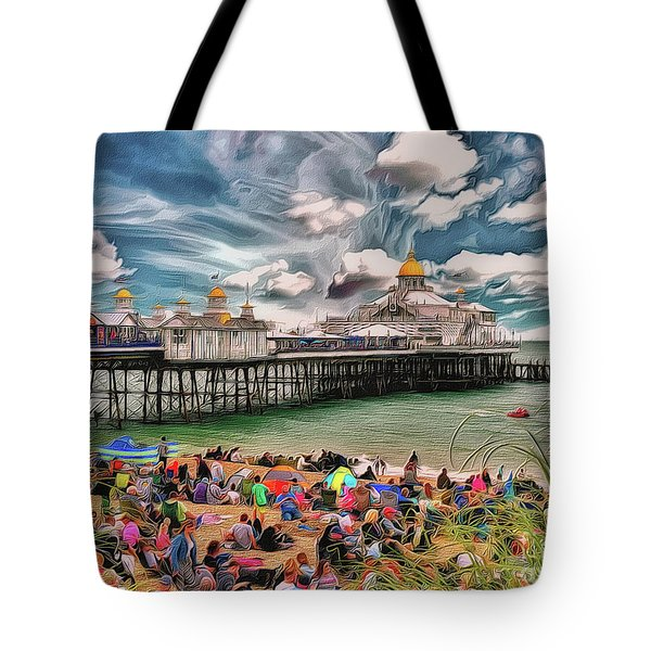 Tote Bag featuring the photograph People And The Pier by Leigh Kemp