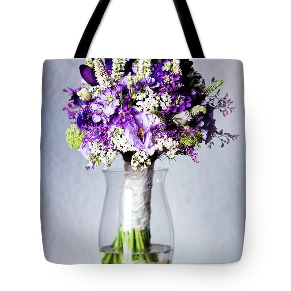 Perfect Bridal Bouquet For Colorful Wedding Day With Natural Flowers. Tote Bag