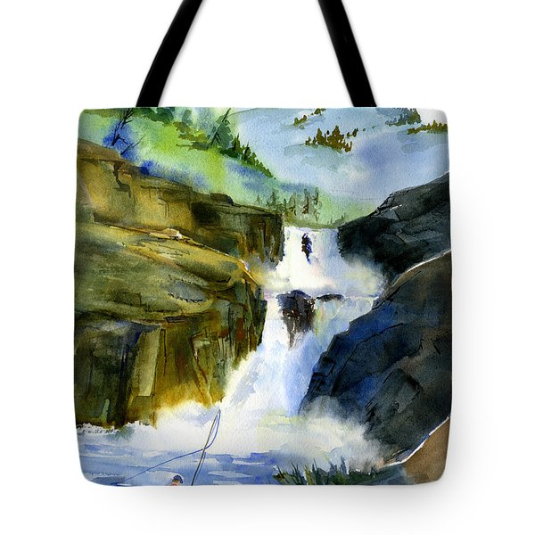 Petroglyph Falls Fishing Tote Bag