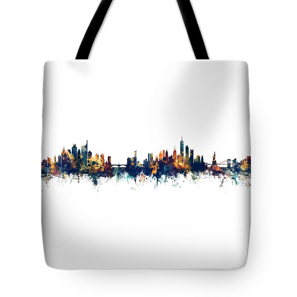 Philadelphia And New York City Skylines Mashup Tote Bag