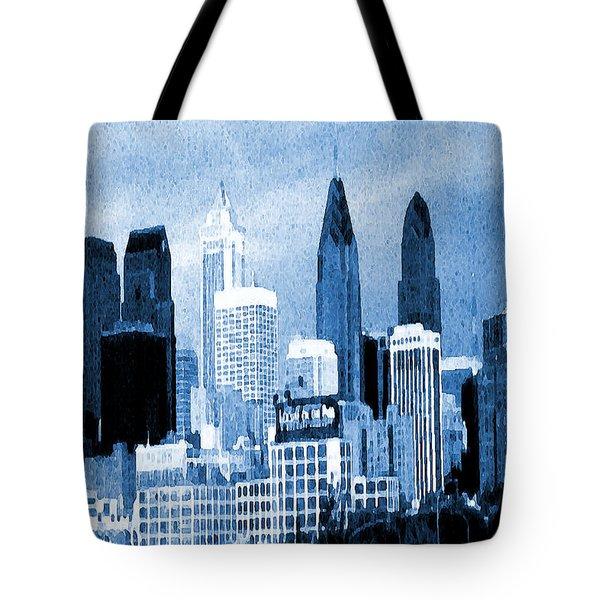 Philadelphia Blue - Watercolor Painting Tote Bag