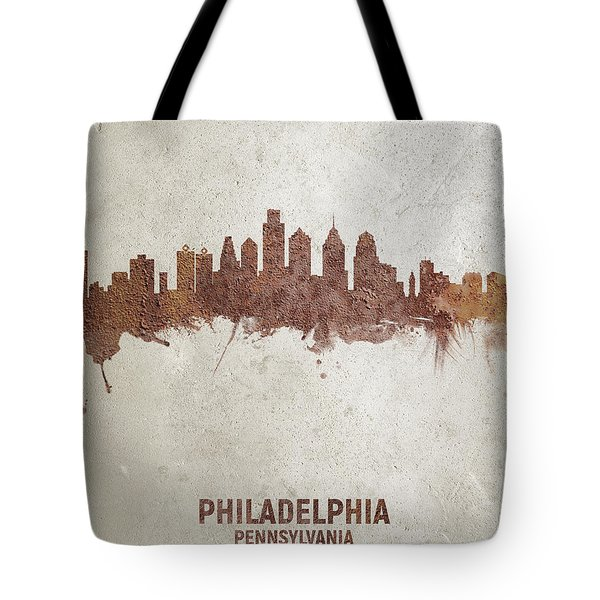 Philadelphia Pennsylvania Rust Skyline Tote Bag