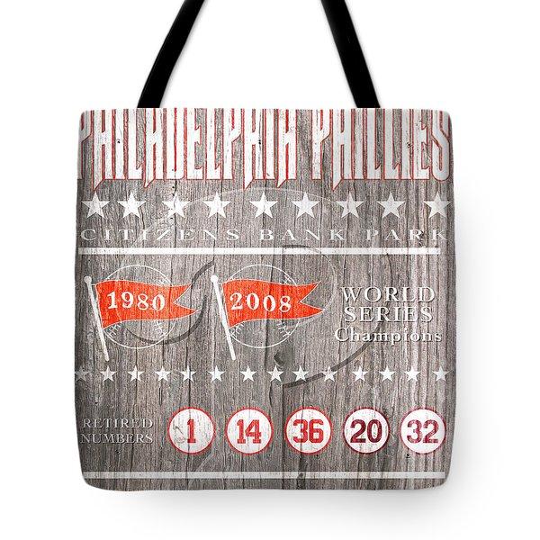 Philadelphia Phillies Rustic Sign Tote Bag