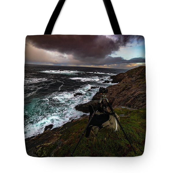 Photo Gear On Landscape Shot Tote Bag