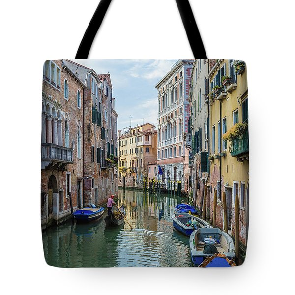 Gondolier On Canal Venice Italy Tote Bag