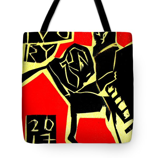 Piano Player Black Ivory Woodcut Poster 31 Tote Bag