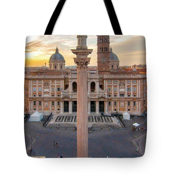 Tote Bag featuring the photograph Piazza Santa Maria Maggiore by Fabrizio Troiani