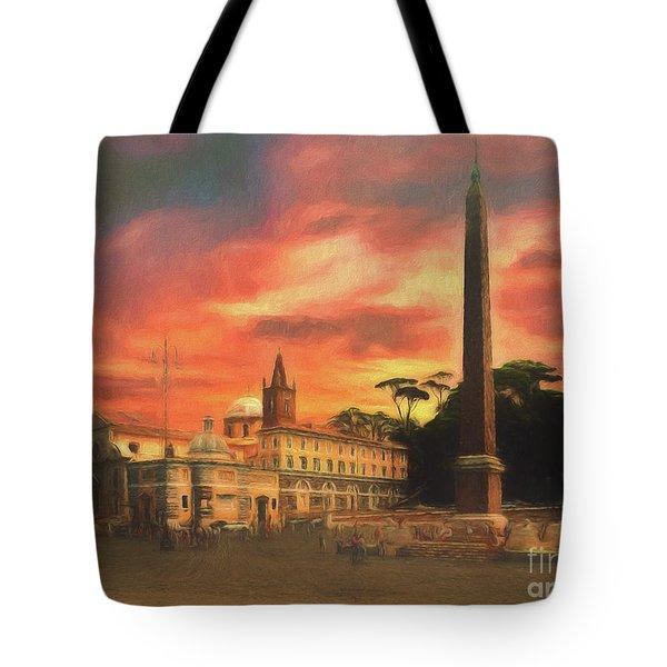 Piazza Del Popolo Rome Tote Bag