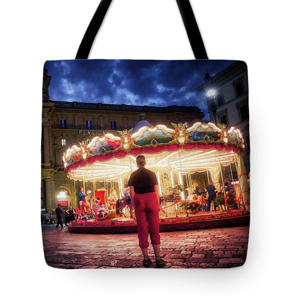 People At Piazza Della Reppublica At Night In Florence, Italy - Painterly Effect Tote Bag